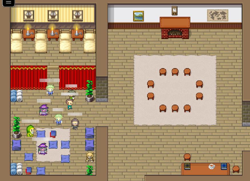 Capture d'écran de l'environnement prévu pour l'atelier : un décor en pixel art représentant un plan de maison. 8 personnages sont regroupés dans l'une des deux pièces