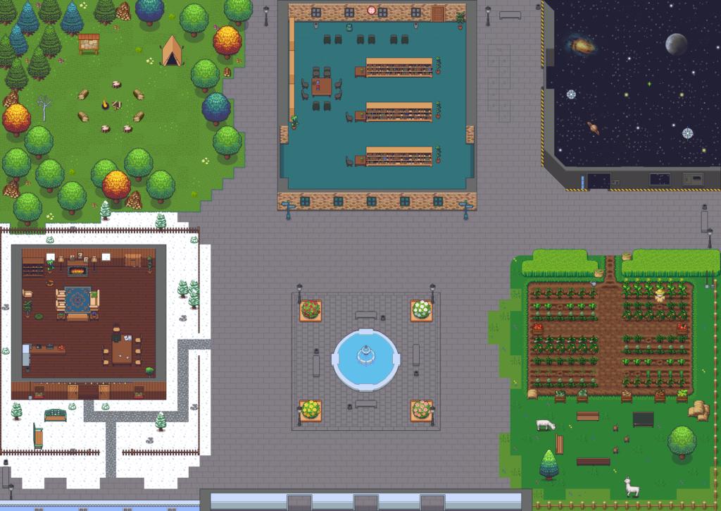 La carte des cinq espaces de discussion : une forêt, une bibliothèque, une galaxie, un chalet dans la neige et un potager, autour d'une place centrale avec une fontaine.