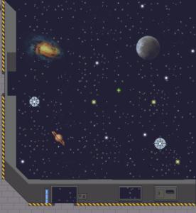 Un décor spatial avec une galaxie, des étoiles, une lune, bordé par les murs d'un vaisseau spatial