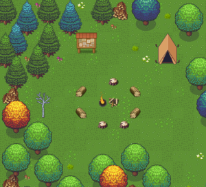 un décor de clairière dans une forêt, avec un feu de camp et une tente.